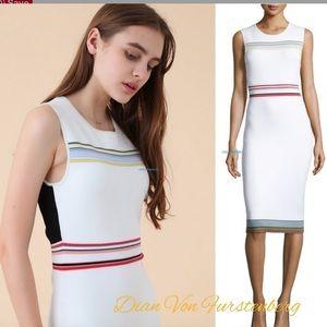 Diane Von Furstenberg striped Stretch knit dress L